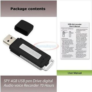 SPY 4GB USB Pen Drive Digital Audio Voice  Recorder 70 Hours 2000