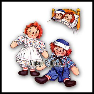 Vintage Raggedy Ann and Andy Pattern ~ 15 tall