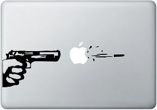 Macbook Decal Apple Gunfire Laptop Sticker Computer Auto Mac Humor