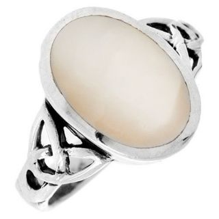 Silver TRISKEL CELTIC KNOT Light Pink Mother of Pearl Ring Size 7