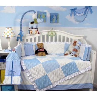 Blue Minky Dot Chenille Baby Crib Nursery Bedding Set 13 pcs included