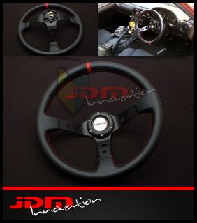 Deep Dish Style PVC Plastic Racing Steering Wheel JDM Black/Red Stitch