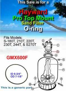 Hayward Pro Top Mount Sand Filter O ring GMX600F S 180T, 210T, 220T