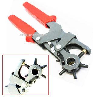 Duty 6 Sized 9 1/2 Leather Hole Punch Hand Pliers Belt Holes Punches