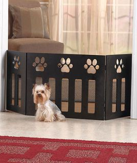 PAW PRINT WOODEN WOOD PET GATE SAFETY DOG PUPPY CAT DOOR FENCE~GIFT