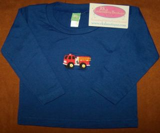 Bright Red Fire Truck Monogram Embroidery 6 Month Long Sleeve Blue