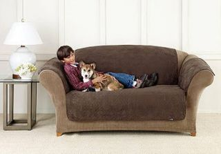 BROWN SOFT SUEDE PET DOG SLIP COVER SOFA CHAIR LOVESEAT WING RECLINER