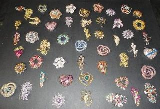 WHOLESALE LOT 6 PCS PINK RHINESTONE BROOCH PIN #BHMIX N