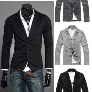 Mens FASHION Stylish Two Button Knitting Blazer Slim Fit Jacket