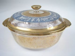 Vintage FIRE KING Covered CASSEROLE Greek HELLENIC Gold