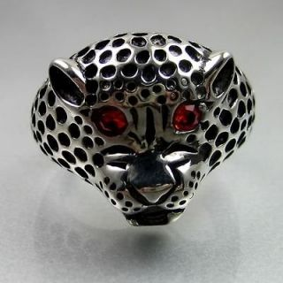 Biker Mens Black Silver Stainless Steel Red Eye Jaguar Ring Size 8