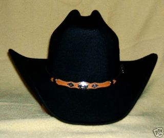 Black Felt COWBOY HAT Brass Conchos   New   Size 7 7/8 or 63 cm