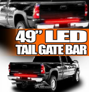 Of Fire Red+White Strip LED Tailgate Tail Light Bar Chevy Pickup/Truck