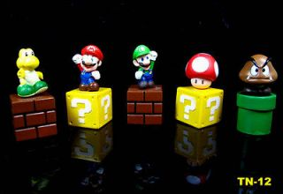 5pcs/set Nintendo video games Super Mario Bro Figure Cake topper Toys
