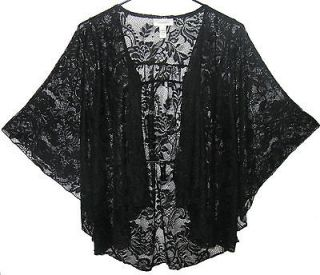 New Black Lace Open Front Cascade Angel Wing Cardigan Womens Plus Size