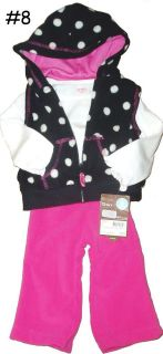 PC FLEECE CARTERS SET NWT BABY GIRLS BOYS WARM WINTER OUTFIT