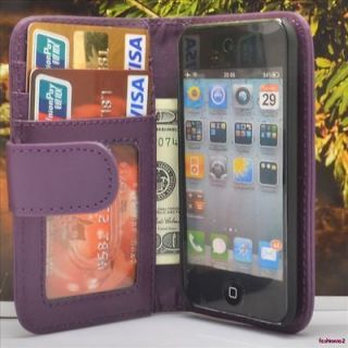 Purple PU Leather Wallet Flip Pouch Hard Case Cover For Ipod Touch 4th