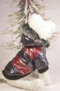 Autumn Winter Jacket Coat Dog Pet Clothes Warm Fur Hood Red White