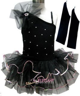 Black Sexy Flower Girls Fairy Dress Ballet Leotard Tutu Party Skirt 2