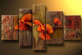 5PC MODERN ABSTRACT HUGE WALL ART OIL PAINTING ON CANVAS +FREE GIFT
