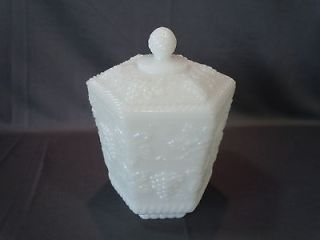 Vintage Anchor Hocking Fire King White Milk Glass Canister w Lid