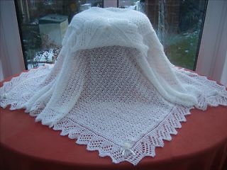 Exquisite Hand Knitted Baby Shawl Blanket White 2 Ply Square 40 x 40