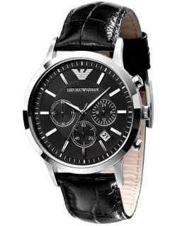 New EMPORIO ARMANI Mens Black Chrono Croco Watch AR2447