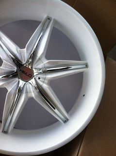 24 GLOSS WHITE RIMS TIRES CHROME INSERTS 5X115 CHARGER CHRYSLER 300