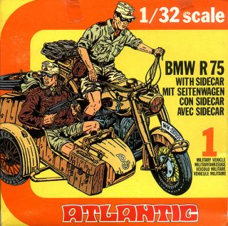 ATLANTIC 1/32 WWII GERMAN MOTORCYCLE with SIDECAR, BMW R75 & 2 Riders