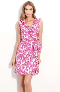 NWT Kate Spade Aubrey Ruffled Wrap Dress Pink Japanese Flowers Silk $