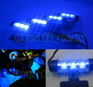 3LEDs Car Charge 12V Glow Interior Decorative 4In1 LED Light Lamp Blue