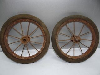Old Metal Rubber Small Wagon Tricycle Bicycle Wagon Tires Wheels Parts
