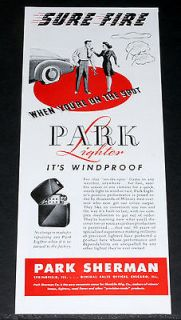 1944 OLD WWII MAGAZINE PRINT AD, PARK CIGARETTE LIGHTER, SURE FIRE