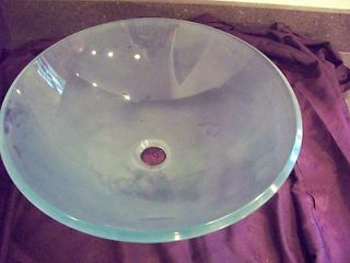 Light Green Frosted Glass Vessel Bathroom Sink w/o Overflow Hole