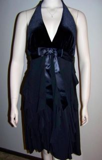 BETSY & ADAM Black Velvet Halter Dress, 14 *NWT $140