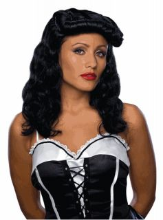 Cigar Girl Wig Black Retro Vintage Bettie Page Halloween Adult Costume