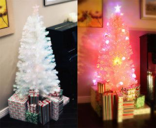 PRE LIT MULTI COLOR LED FIBER OPTIC CHRISTMAS TREE WITH MUSICAL BOX