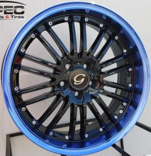 LINE G820 WHEEL 5X100 +38 BLACK BLUE RIM FITS CELICA COROLLA MATRIX