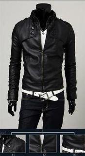 Designed Mens PU Leather Short Slim Fit Top Jacket Coat Outerwear