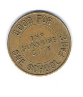 ST PETERSBURG FL One School Fare Student Bus Transportation Token Coin