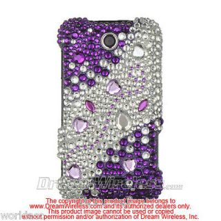 X500m MetroPCS Hard Case Cover Purple Silver Rhinestone Bling Lux