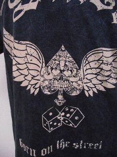 CHRISTIAN AUDIGIER SMET REBORN WINGED DICE MENS S/S TEE SZ XL BLUE