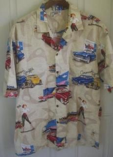 MADE MENS SHIRT AMERICAN GRAFFITI OLD CARS MELS DRIVE IN 50S DINER