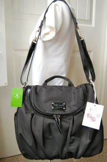 NEW Kate Spade Randi Black Nylon Baby Diaper Bag & All Extras Clearan