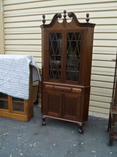 Antique Mahogany 2 piece Chippendale Corner China Cabinet Curio