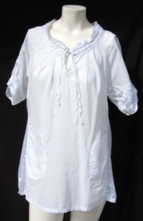 CONVERSE ONE STAR womens AIRY WHITE COTTON S/S BLOUSE SHIRT TUNIC TOP