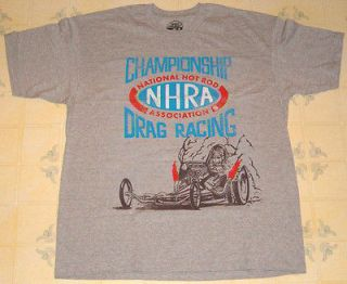 NWOT NHRA ORIGINALS GRAY DRAG RACING T SHIRT WITH FRONT ENGINE