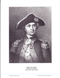 John Paul Jones American Naval Officer Vintage Portrait Gallery Poster