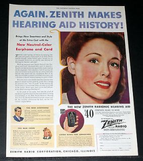 1944 OLD WWII MAGAZINE PRINT AD, NEW ZENITH RADIONIC HEARING AID