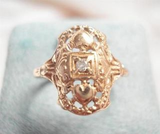 ANTIQUE ART DECO 14K YELLOW GOLD DIAMOND FILIGREE RING